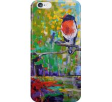 Red Crested Robin in Paradise  iPhone Case/Skin