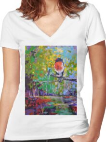 Red Crested Robin in Paradise  Women's Fitted V-Neck T-Shirt