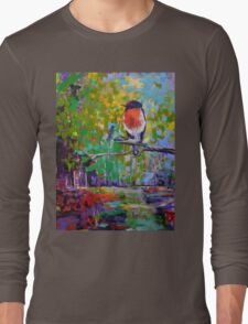 Red Crested Robin in Paradise  Long Sleeve T-Shirt