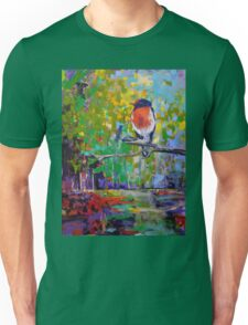 Red Crested Robin in Paradise  Unisex T-Shirt