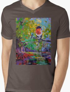 Red Crested Robin in Paradise  Mens V-Neck T-Shirt
