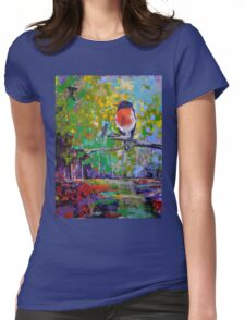 Red Crested Robin in Paradise  Womens Fitted T-Shirt