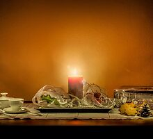 Christmas still life composition on a wooden table by enolabrain