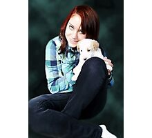 SPECIAL LOVE AND BOND OF HER PRECIOUS PUPPY Photographic Print