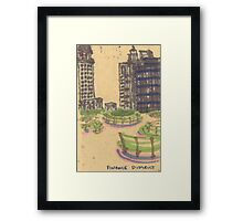 benches in the finance district Framed Print
