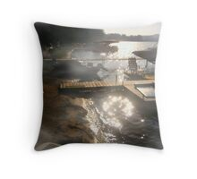 FOGGY MORNING OVER HEALING WATERS Throw Pillow