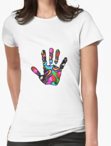 Psychedelic Hand Print 2 Womens Fitted T-Shirt