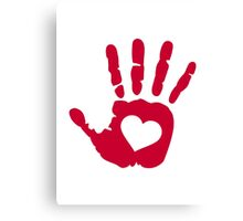 Red hand heart Canvas Print