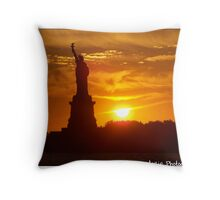 Standing on Liberty Island Throw Pillow