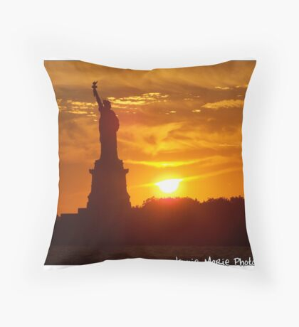 Standing on Liberty Island Throw Pillow