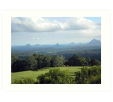 Glass House Mountains (a view from Melany) Art Print