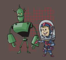 SpaceKid and Leader001 of the GreenBot Planet by Steven Novak