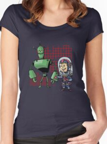 SpaceKid and Leader001 of the GreenBot Planet Women's Fitted Scoop T-Shirt