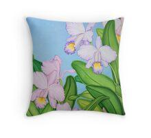 Violet Cattleya Orchids Throw Pillow