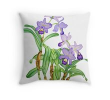 Purple Botanical Cattleya Orchids Throw Pillow