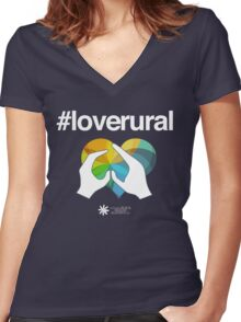 #loverural for dark backgrounds Women's Fitted V-Neck T-Shirt