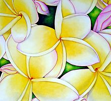 Yellow and White Frangipani by joeyartist