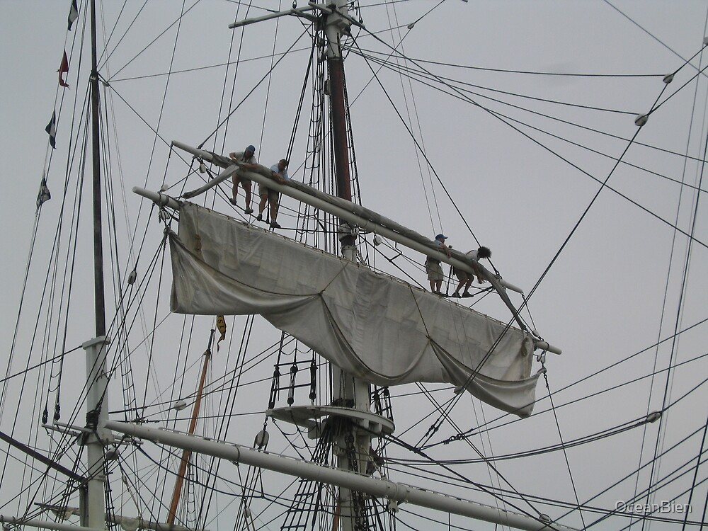 Tightening the main upper topsail by OceanBien