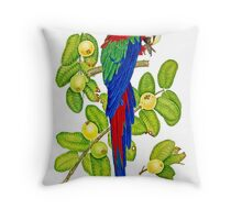 Macaw on Guava Branches Throw Pillow