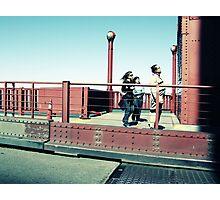 Tourists on the Golden Gate bridge Photographic Print