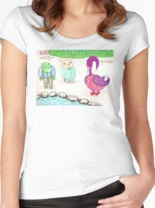 Frog, Hamster, Bird Women's Fitted Scoop T-Shirt