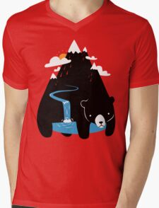 The Mountain Bear Mens V-Neck T-Shirt