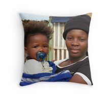 Xhosa girl with her niece Throw Pillow