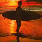 Sunrise Surfer - Seascape by © Linda Callaghan