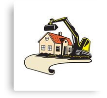 House Demolition Building Removal Canvas Print