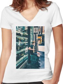 Boy playing a accordion Women's Fitted V-Neck T-Shirt