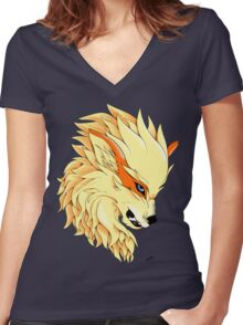 Arcanine's Rage Women's Fitted V-Neck T-Shirt
