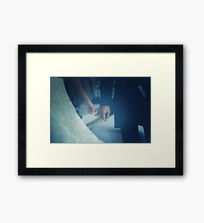 Wedding couple bride groom holding hands analogue film photo Framed Print