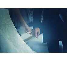 Wedding couple bride groom holding hands analogue film photo Photographic Print