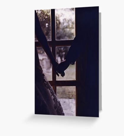 Wedding couple bride groom holding hands analogue film photograph Greeting Card