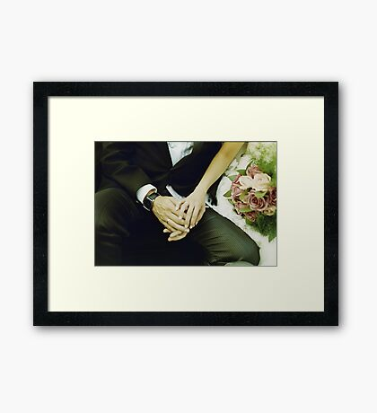 Wedding couple bride groom holding hands analogue film photography Framed Print