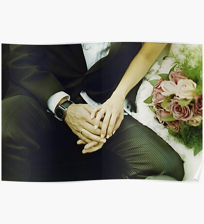 Wedding couple bride groom holding hands analogue film photography Poster