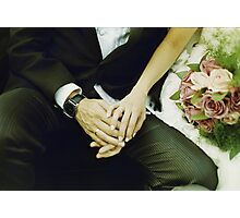 Wedding couple bride groom holding hands analogue film photography Photographic Print