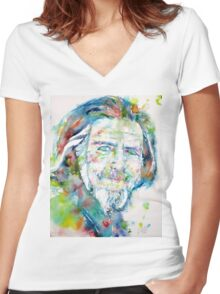 ALAN WATTS - watercolor portrait Women's Fitted V-Neck T-Shirt