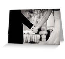 Wedding couple bride groom holding hands back and white photo Greeting Card