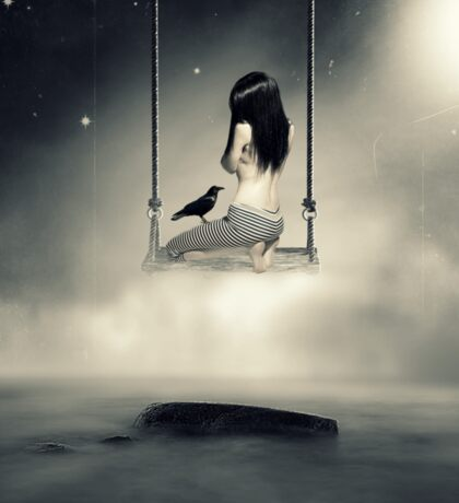 sureal/conceptual scenery of young girl on swing  Sticker