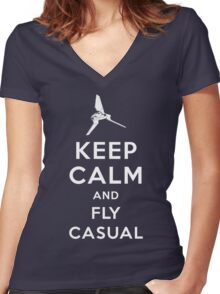 Keep Calm and Fly Casual Women's Fitted V-Neck T-Shirt