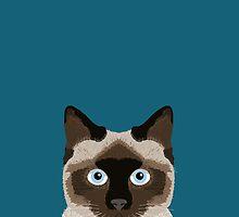 Ezra - Siamese Cat, Cute Kitten Retro Cat Art cell phone case, siamese, cute cat by PetFriendly