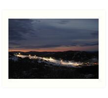 Skiing After Dark, Perisher Blue Art Print