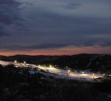 Skiing After Dark, Perisher Blue by Benn Hartung