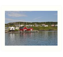 Red Boat House in Newfoundland Art Print