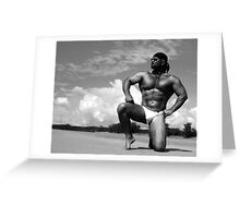 bodybuilder on the sand Greeting Card