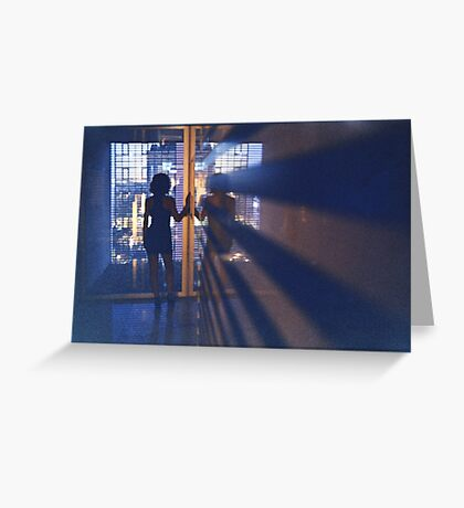 Slim young lady in hotel corridor analog film photo Greeting Card