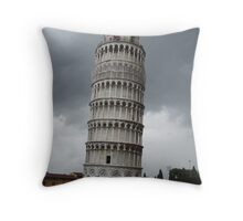 Ominous Leaning Tower Throw Pillow