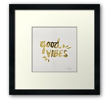 Good Vibes - Gold Ink Framed Print