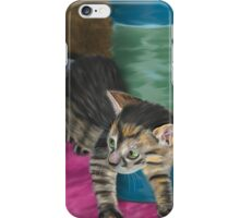 Cute Grey Kitten Looking at a Blue Doll iPhone Case/Skin